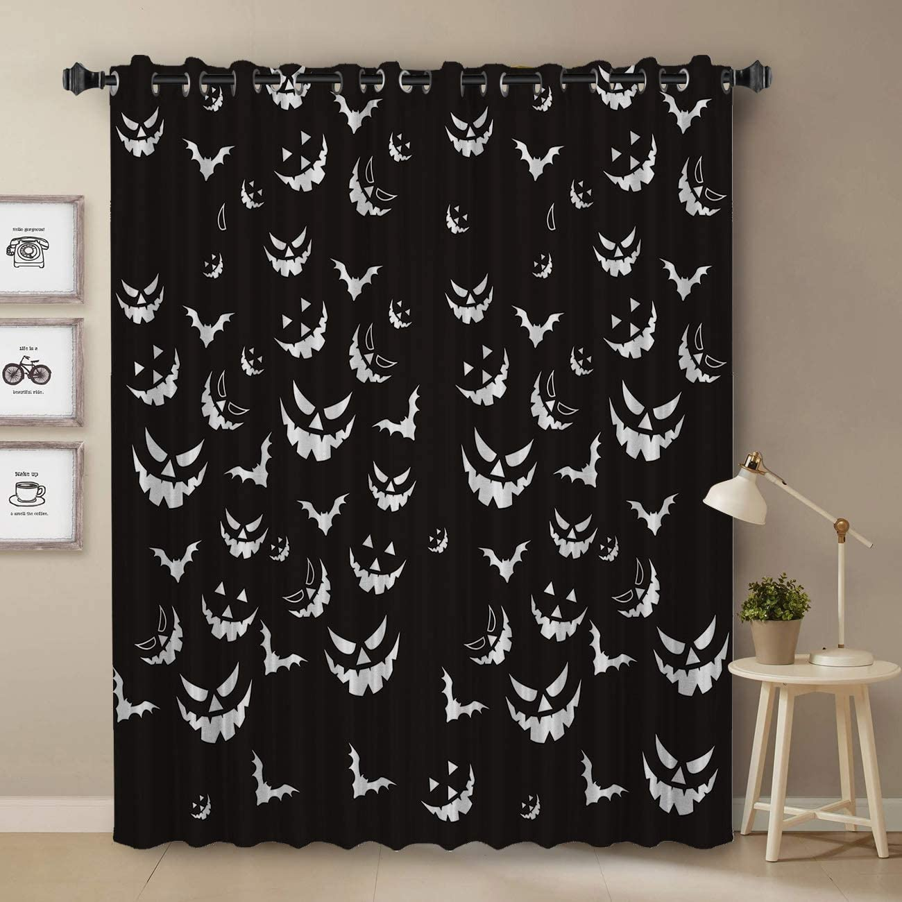 Darkening Blackout Curtain for Bedroom – 96 inch Long Window Treatment Curtain Drapes Modern Art Design for Living Room – Halloween Pumpkin Bat Black and White Pattern Decoration Design