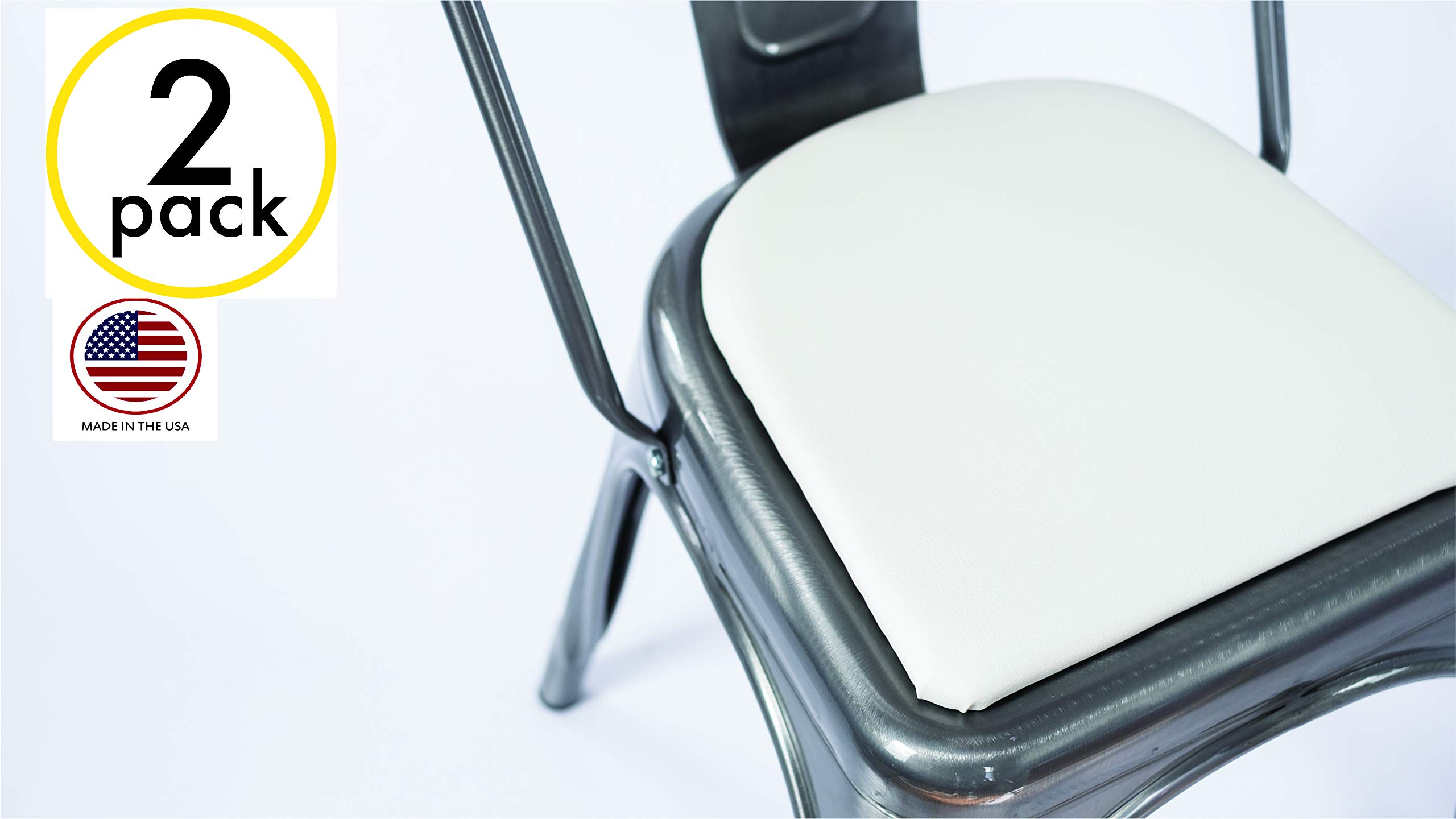2 Pack Round Chair and Stool Cushions for Metal Stools & Chairs (White) Handmade (in USA)! by Cush Cushion