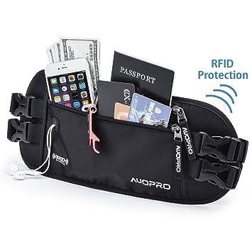 274c42f627 AUOPRO Travel Money Belt Waist Pack Waterproof Running Bum Bag RFID  Blocking Passport Holder Pouch with