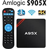Nexbox A95X Android 6.0 TV Box Amlogic S905X 1GB RAM 8GB ROM Quad Core 4K HD Media Player Support 2.4G Wi-Fi with Learning Remote