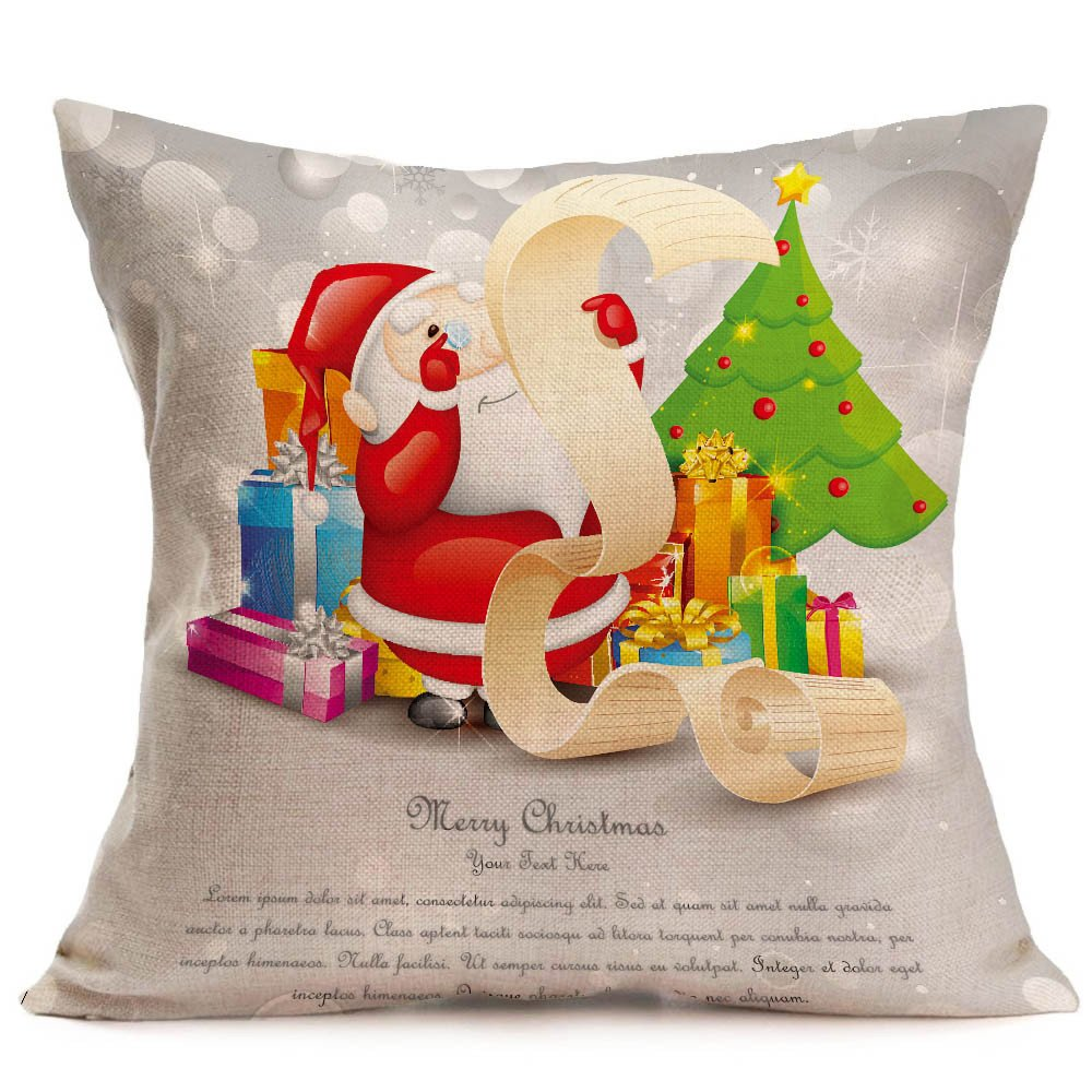 Merry Christmas Pgojuni Linen Pillowcase Decoration Accent Throw Pillow Cover Cushion Cover for Couch/Sofa 1pc 45X45 cm (H)