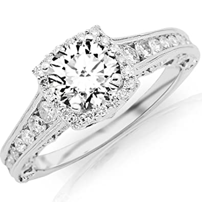 6b794389c 1.75 Carat Designer Halo Channel Set Round Diamond Engagement Ring with  Milgrain with a 1 Carat I-J I2 Center | Amazon.com
