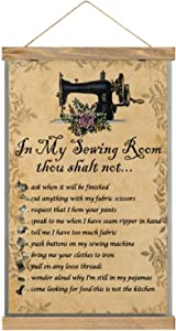 Hanging Poster Colorful Wall Art Painting Black Sewing Machine with Bouquet in My Sewing Room Thou Shaft Not. Printed On Linen Canvas,with Scroll Teak Wood Hanger for Home Decoration Wall Decor
