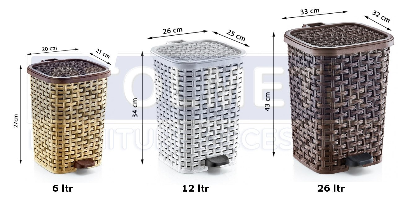 Eco Friendly Pedal Bin RATTAN Wicker effect for Kitchen Bathroom Office Rubbish Dustbin w/Removable Basket Stolmet Manufacturing