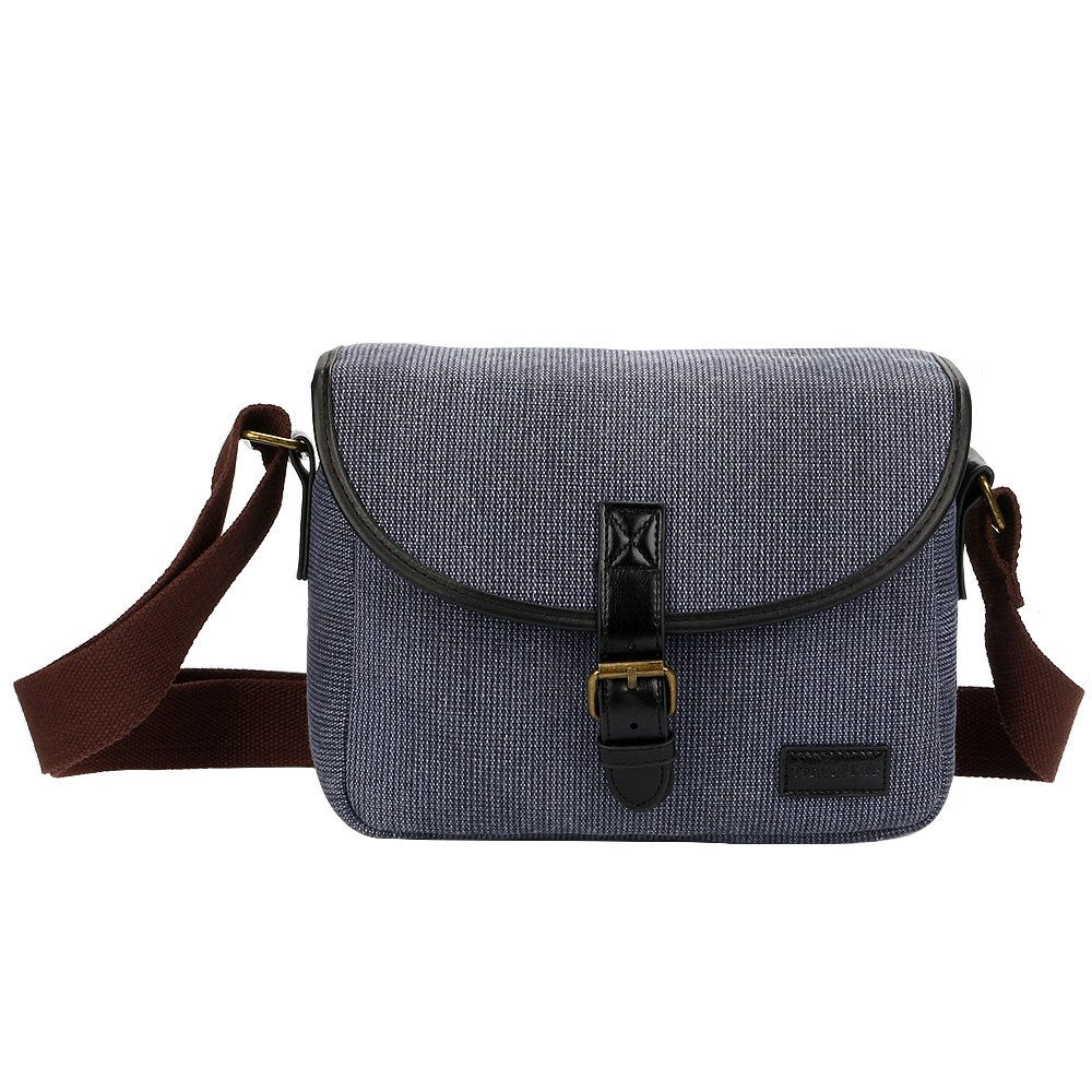 Topixdeals Vintage Canvas Camera Bag, DSLR Shoulder Camera Bag with Removable Inserts, Shockproof Camera Case for Canon, Nikon, Sony, Pentax, Olympus, Panasonic, Samsung- Blue Gray