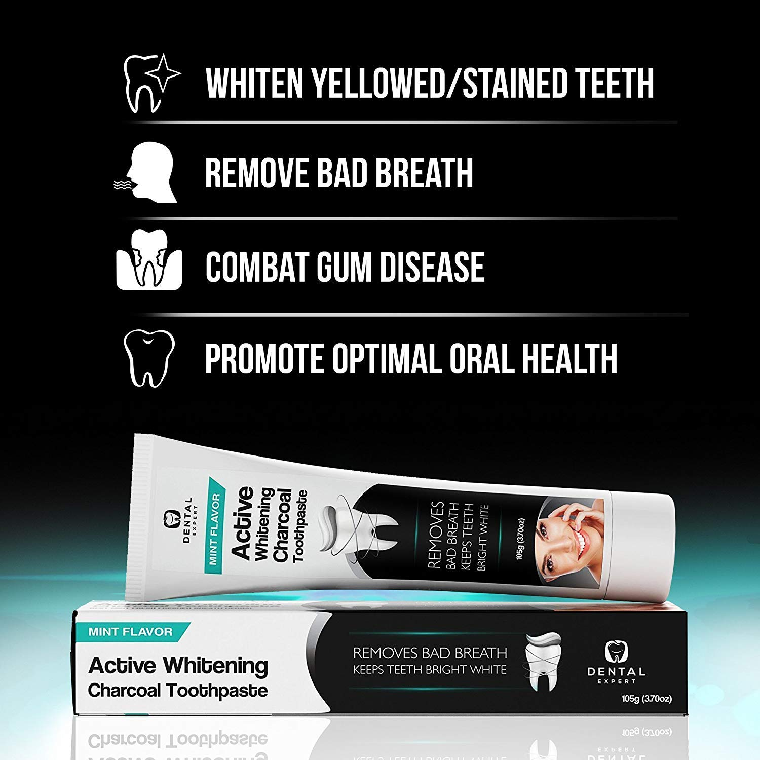 Activated Charcoal Teeth Whitening Toothpaste - DESTROYS BAD BREATH - Best Natural Black Tooth Paste Kit - MINT FLAVOR - Herbal Decay Treatment - REMOVES COFFEE STAINS - 105g (3.7 Fl Oz)