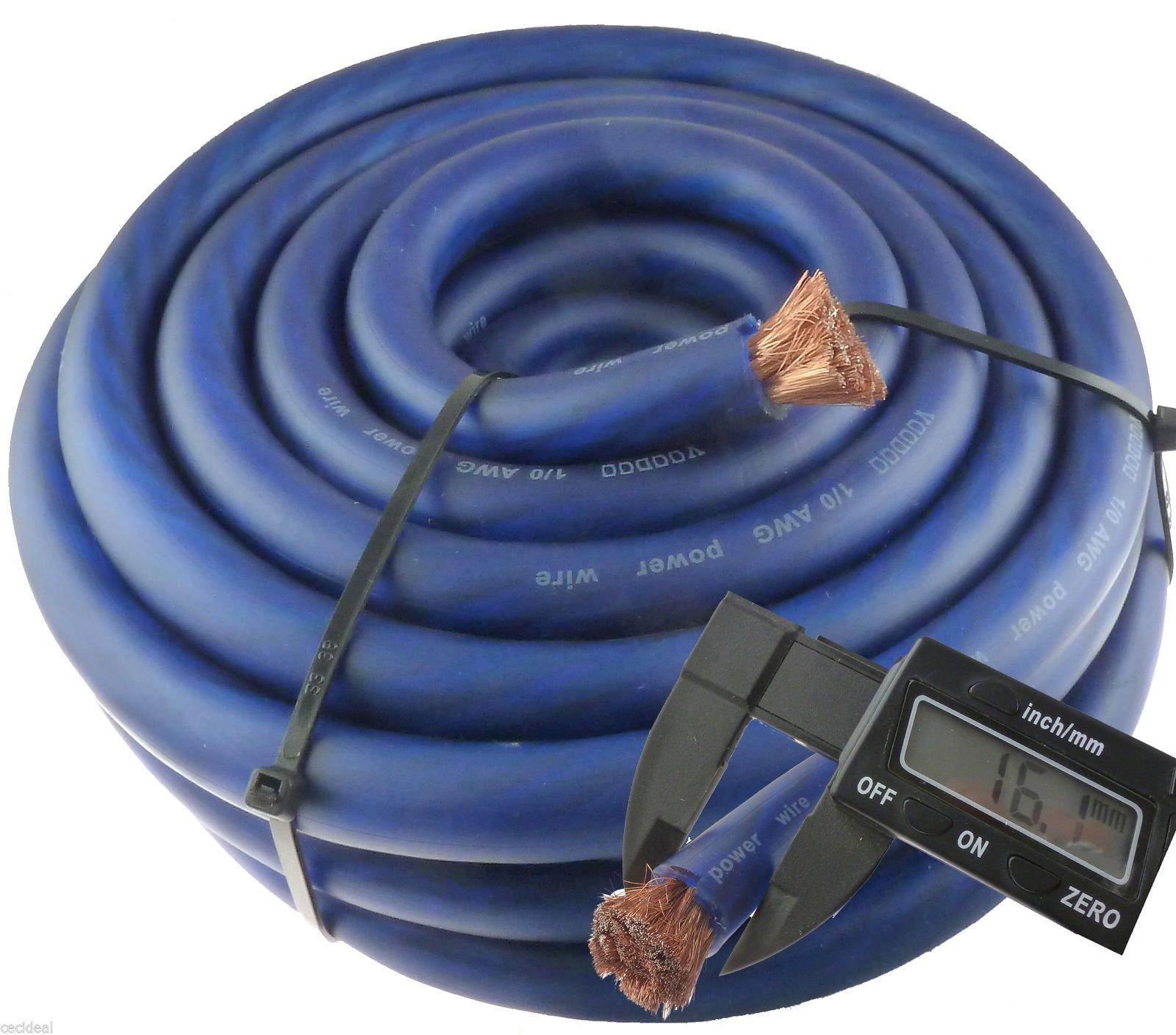 0 Gauge 25' Wire Hyperflex Amplifier Blue Ga 1/0 Amp Power/Ground Cable 25 Ft by Voodoo HyperFlex