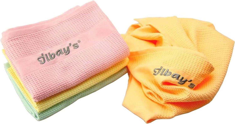 Set di 4 panni per la pulizia Ilbays Giallo//Arancione//Verde//Rosa colore