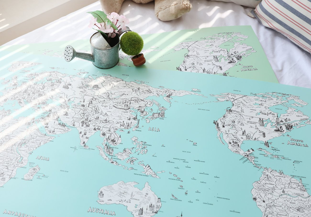 Amazon dreamsky d map illustration world map package with 2 amazon dreamsky d map illustration world map package with 2 type deco sticker illustration photo hand drawn by skyjoon 36x20 blue map beauty gumiabroncs Choice Image