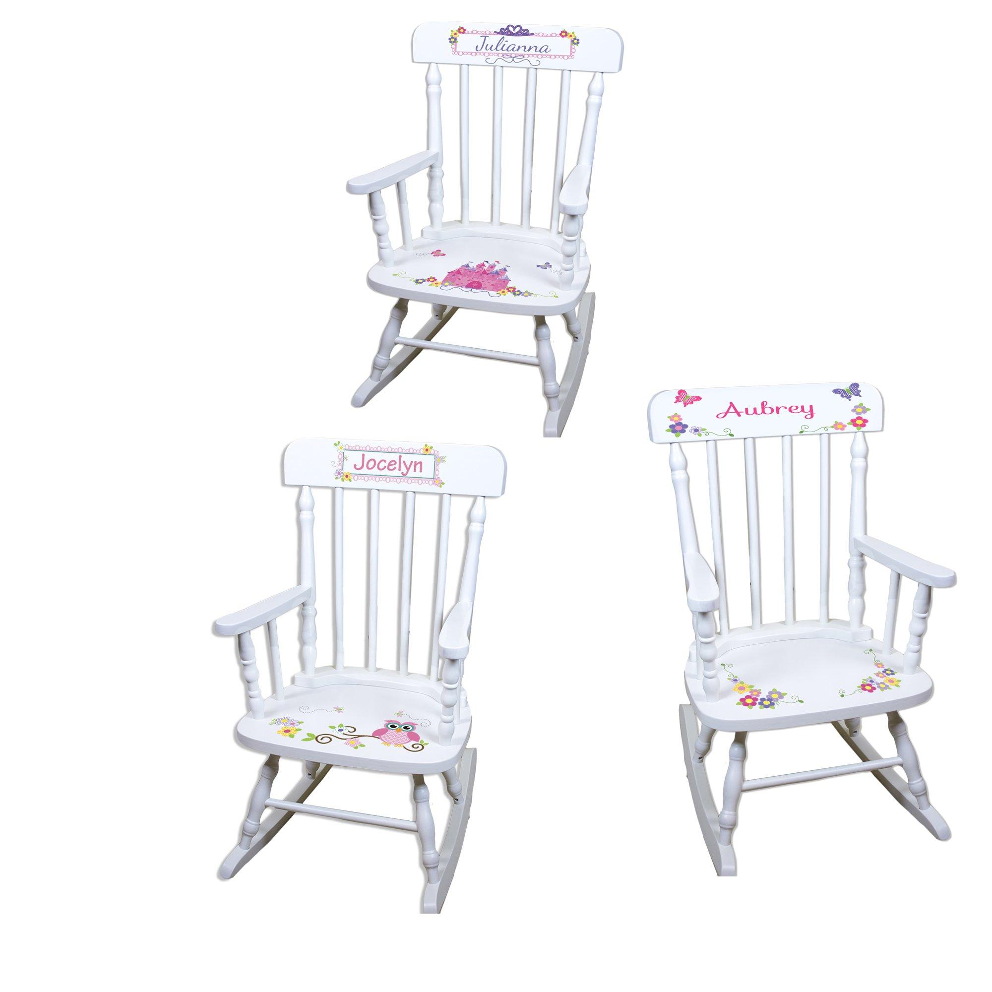 Personalized Girls Rocking Chair-white by MyBambino