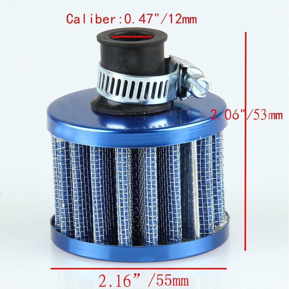 Mintice 2 X Filtre /à Air Froid Reniflard Carter Turbo Ventilateur 12mm Mini Fibre Carbon pour Voiture Moto
