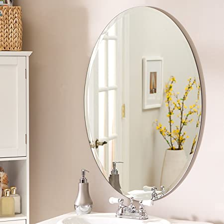 SDG Frameless Oval Mirror   Mirror for Wall   Mirror for Bathrooms   Mirror for Home   Mirror Decor   Mirror Size : 18 inch x 24 inch.