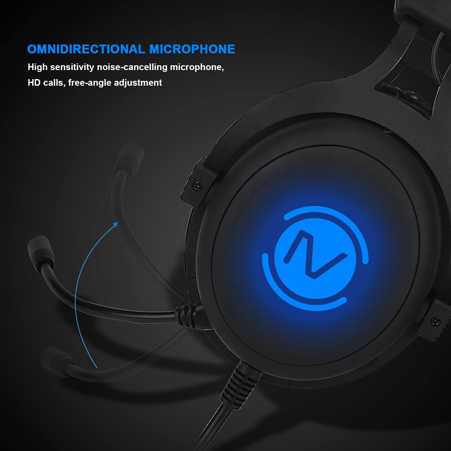 7.1 Headset OIVO 7.1 Gaming Headset Virtual Surround Sound for PC USB Computer Headset Noise Cancelling Over Ear Headphones with Microphone for Laptop Gamer