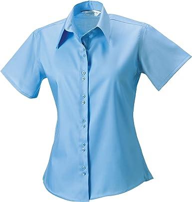 Russell Collection- Camisa de Manga Corta Que no Necesita Planchado para Mujer: Amazon.es: Ropa y accesorios