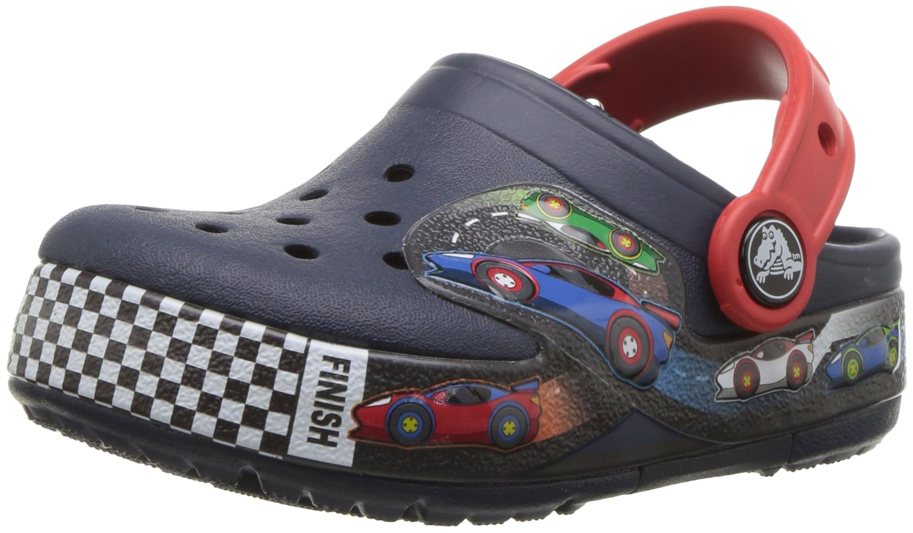 Crocs Kids' Crocband Fun Lab Light-Up Race Car Clog, Blue, 3 M US Little Kid