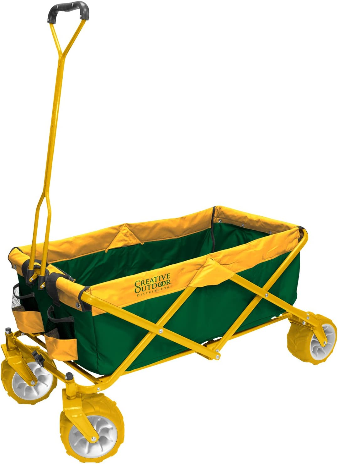 Creative Outdoor Collapsible Folding Wagon Cart for Kids and Pets | All Terrain | Beach Park Garden Sports & Camping | Green & Yellow