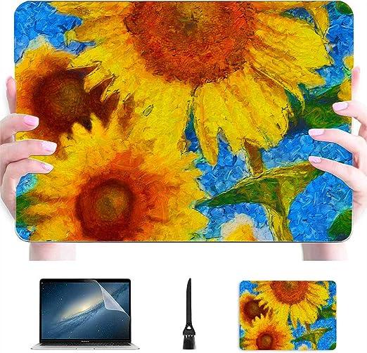 13 Macbook Pro Estuche Pintura al óleo Amarillo Dorado Girasol Plástico Carcasa Dura Accesorios para Mac Macbook Accesorios de protección de 13 Pulgadas para Macbook con Mouse Pad: Amazon.es: Electrónica