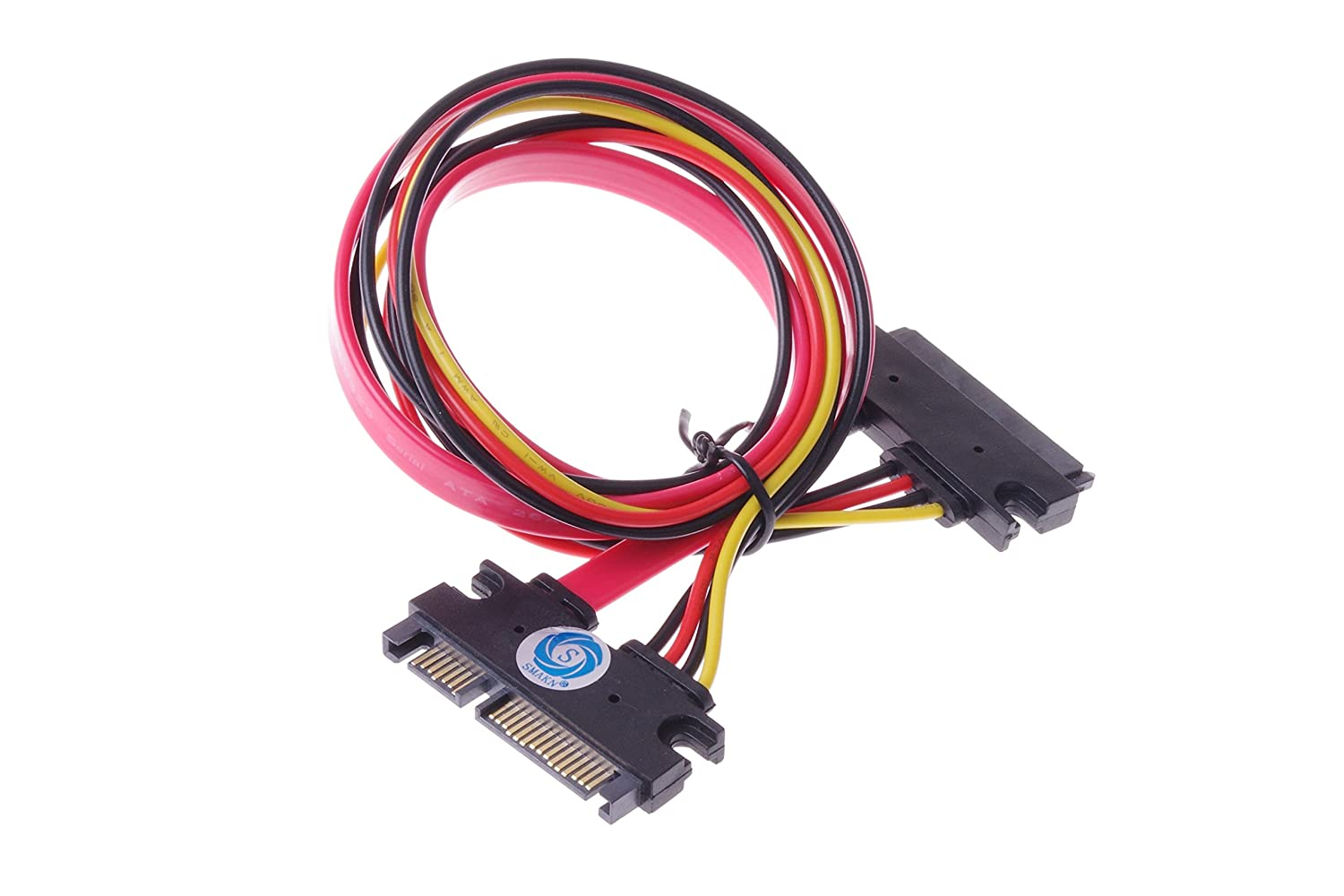 Smakntm 22 Pin 7 15 Sata Male To Female Data And Serial Cable Schematic Power Combo Extension Slimline M F 20inch 50cm Computers