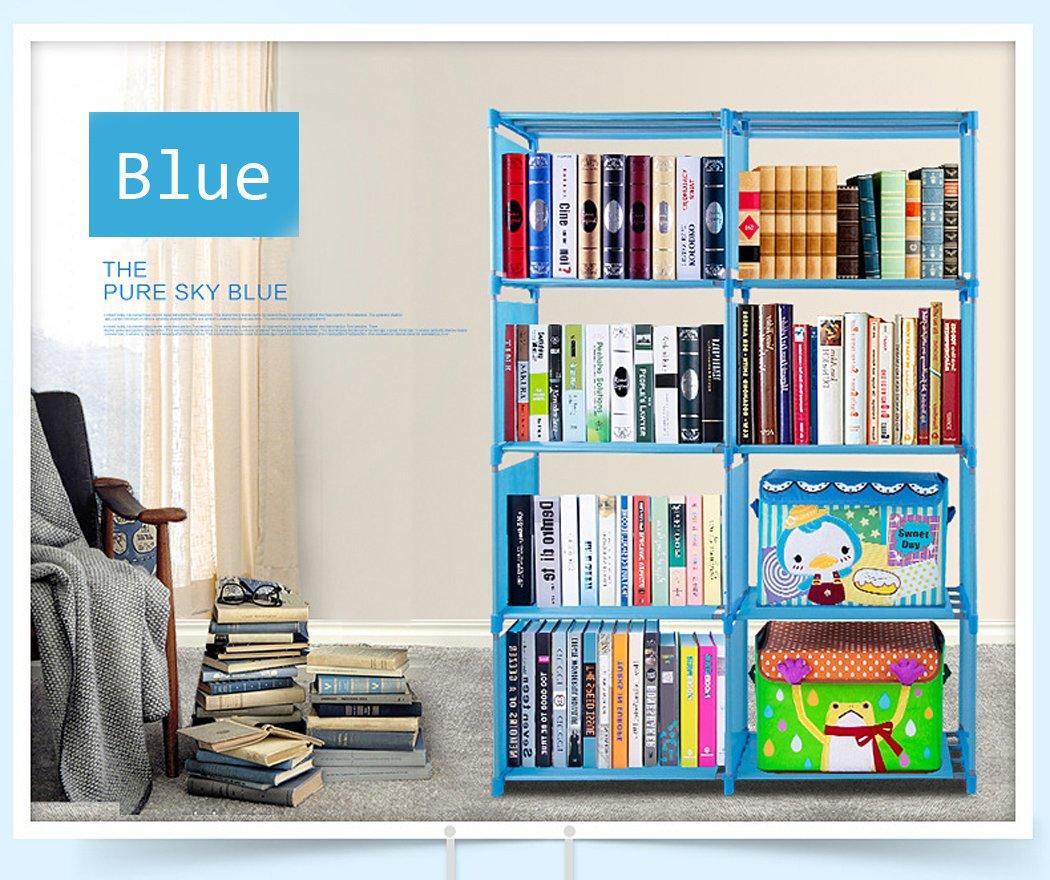 Vividy 4 Shelf Adjustable 8 Cube Bookcase, DIY Bookshelf for Kids Boys Girls, Home Book Storage Furniture (Blue)