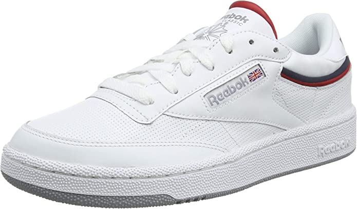 Reebok Club C 85 Sneakers Fitnessschuhe Herren Weiß mit rot/blau