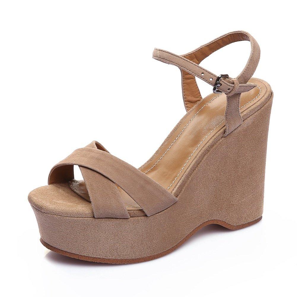 DecoStain Women's Elegant Open Toe Slingbackd Buckle Ankle Strap Platform High Wedges Heels Party Wedding Sandals B07CSP7G6N 8 B(M) US|Khaki