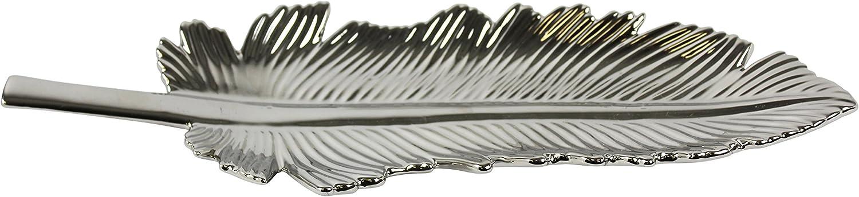 Sagebrook Home Ceramic Leaf Plate 15.75x5.5x1.75, Silver