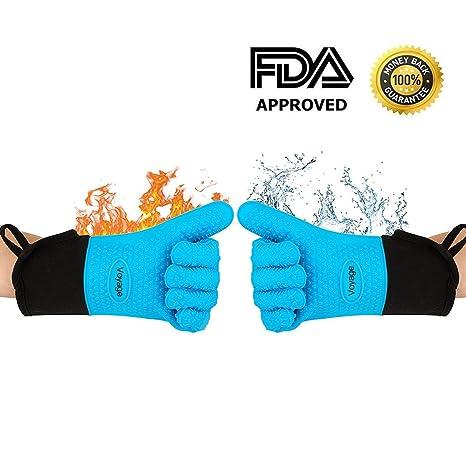 VOYAGE Premium Ofenhandschuhe (2er Set) bis zu 350°C - Silikon Extrem Hitzebeständige Grillhandschuhe BBQ Handschuhe zum Back