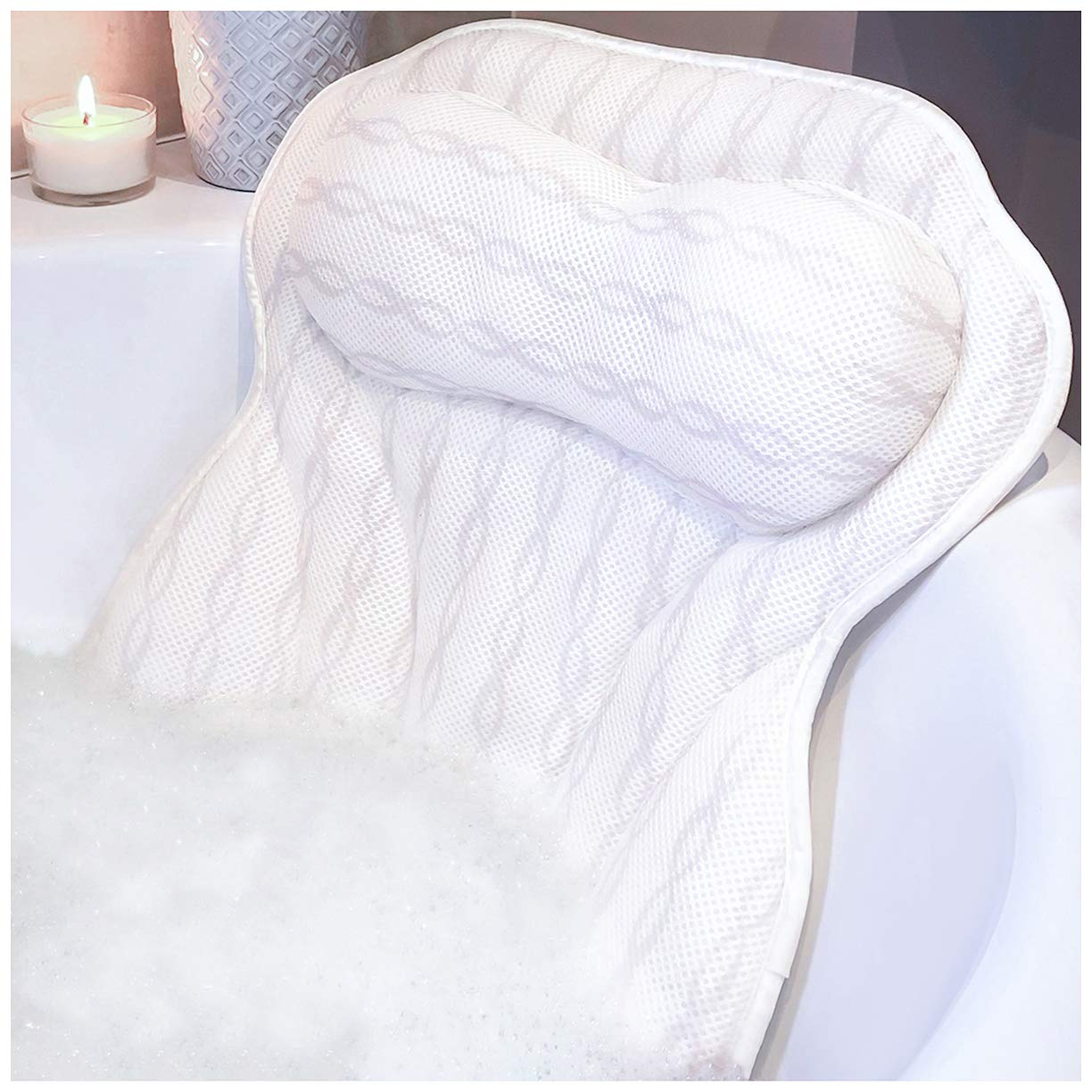 Luxury Bath Pillow Bathtub Pillow - Ergonomic Neck Support Like No Other - 3D Air Mesh Technology - Non Slip, Machine Washable & Quick Dry Bath Pillows for Tub by KANDOONA