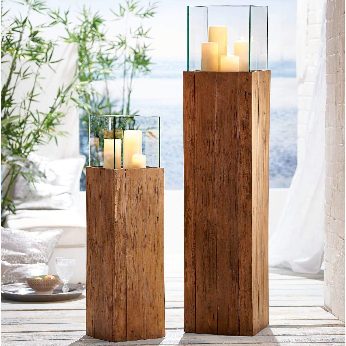 Pureday Bodenwindlicht Woody gro/ß Windlichts/äule aus Holz Natur