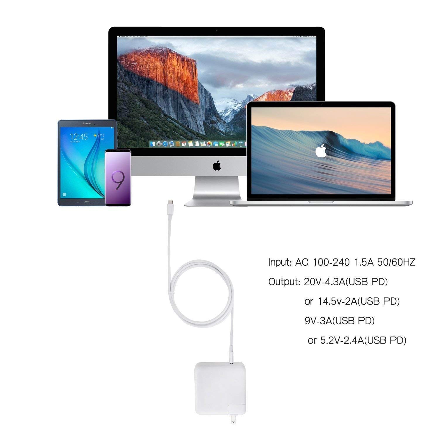 GSNOW 87W USB-C Power Adapter Charger - Compatible with MacBook Pro 15 Inch Laptop - with USB-C to USB-C Charge Cable (White) by GSNOW (Image #6)