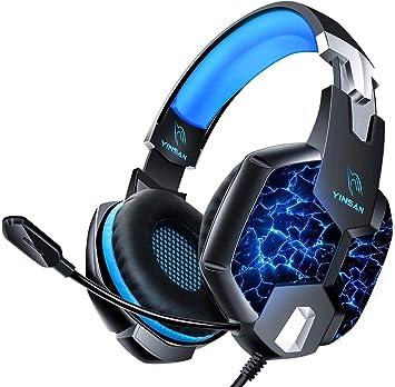 Auriculares Gaming PS4, YINSAN Cascos Gaming Premium Estéreo con Micrófono, 7 Luces LED y Orejeras de Memoria Suave, Gaming Headset con Control de Volumen para PC/Xbox One/Nintendo Switch/Móvil/Mac: Amazon.es: Electrónica