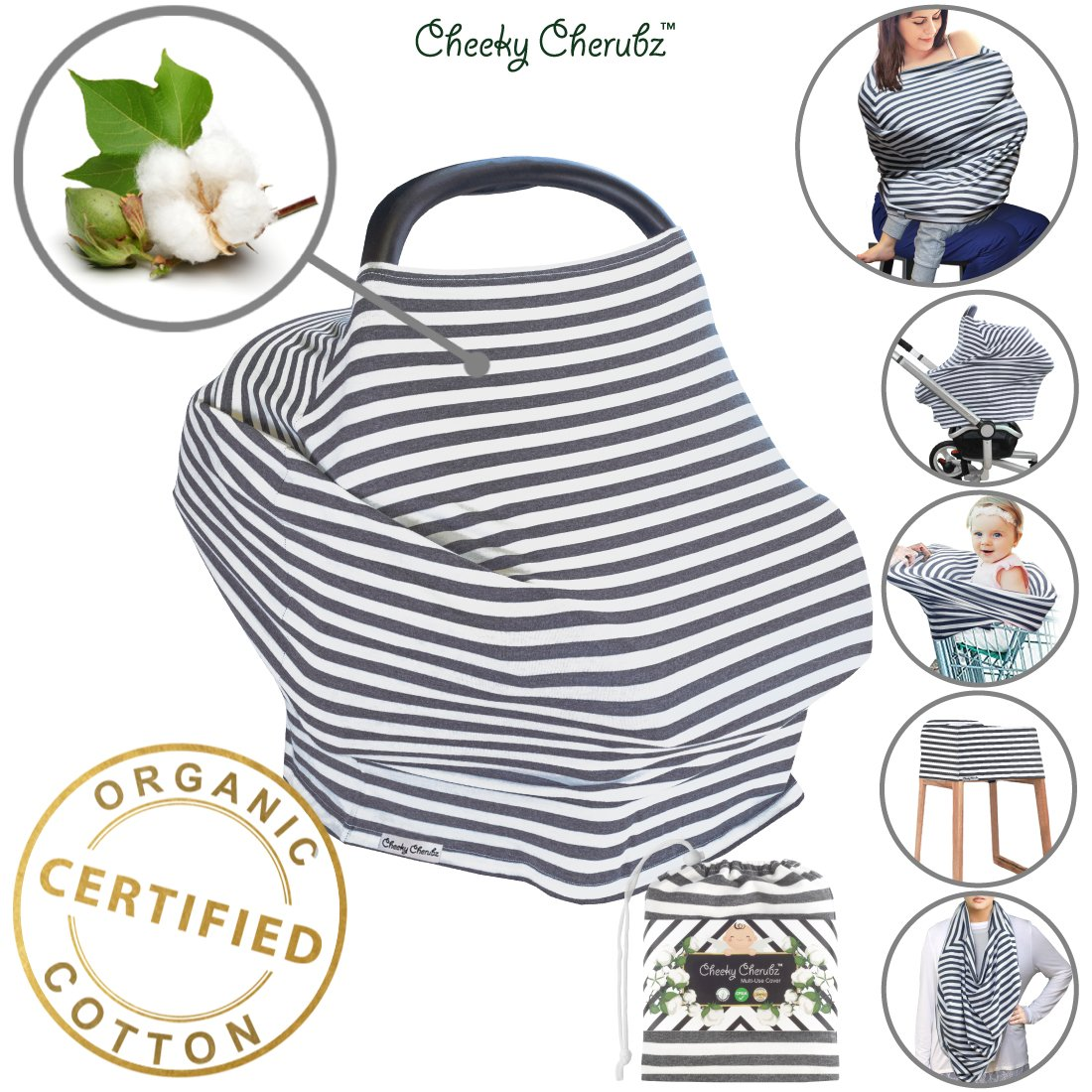 ☆ Organic Cotton ☆ Nursing Breastfeeding Cover Scarf, Baby Car Seat Canopy, Canopies, Shopping Cart, Stroller, Carseat Covers for Girls and Boys Best Multi-Use Infinity Stretchy Shawl Shower Gifts Cheeky Cherubz
