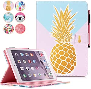 MonsDirect iPad 8th Generation 10.2 inch Case, 7th Generation 2019 Case, Smart Sleep Wake Stand Case with Pencil Holder Slim Protective Cover for iPad 10.2/2019 Air 3 / Pro 10.5 Inch, Gold Pineapple