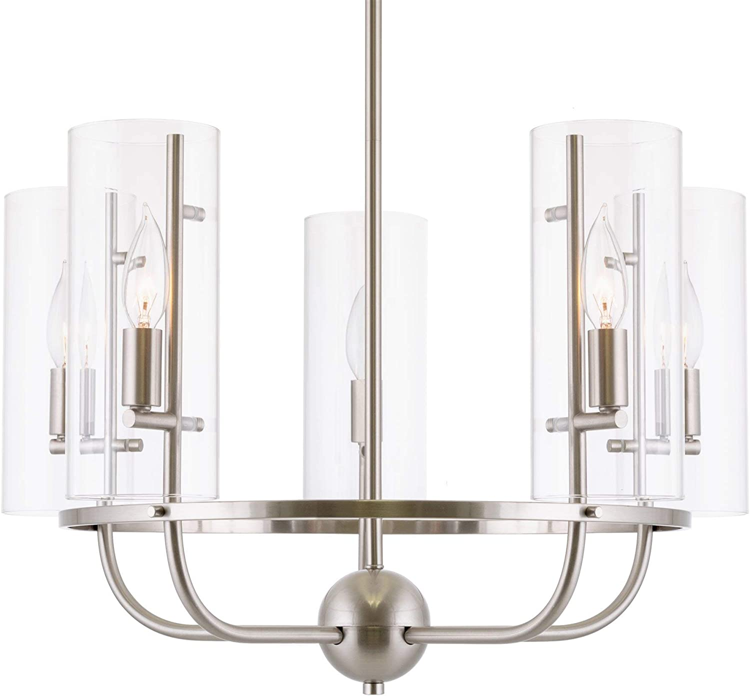 Kira Home Inara 22.5 Modern 5-Light Chandelier Clear Cylinder Glass Shades, Adjustable Height, Brushed Nickel Finish