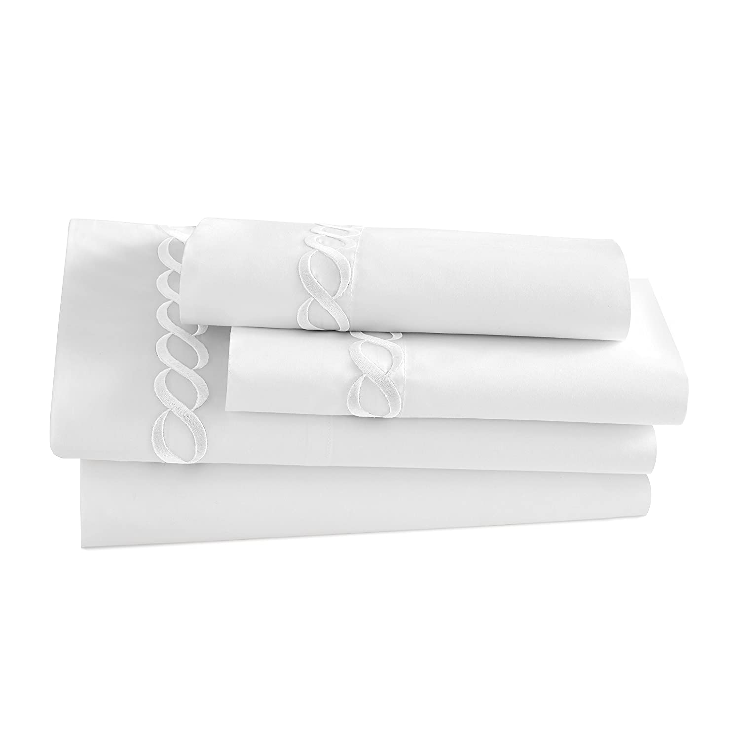 Kassatex Catena Bedding Collection Queen Sham Set Silver