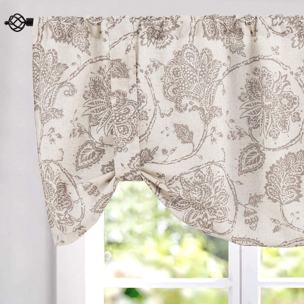 Tie-up Valances for Windows Jacobean Floral Printed Tie Up Valances for Kitchen Windows Flax Linen Textured Medallion Design Tie Up Shade Window Curtain (1 Panel, Taupe, 18 Inches Long)