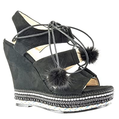 Angkorly Damen Schuhe Sandalen Espadrilles - Plateauschuhe - Offen - Perle - Geflochten - Bommel Keilabsatz High Heel 13 cm - Grau BO41 T 39 c2thPHaWqd