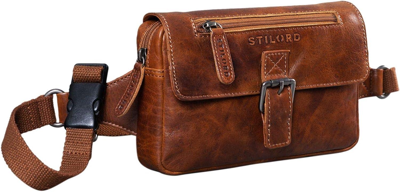STILORD 'Ian' Bolso de Cintura de Piel Riñonera Vintage para Hombres Mujeres Bolso de Cadera para Festival Fiesta Viaje Bolsa de Cuero, Color:Antiguo - marrón