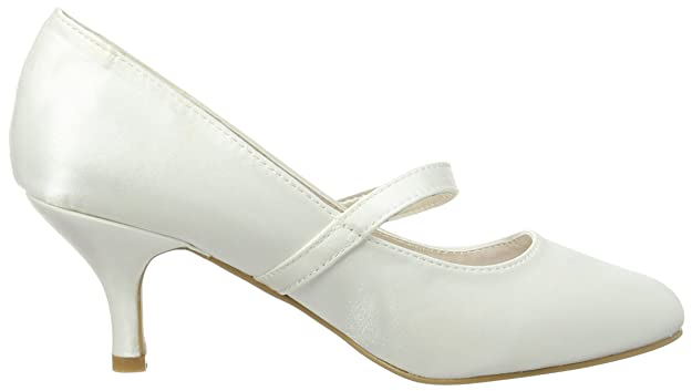 Spot On Mary Jane Low Heel 'Wedding' Court, Mary Jane Femme- cassé (Ivoire), 36