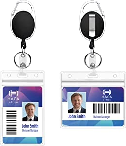 Retractable Badge Reel - 2 Pack Heavy Duty Badge Holder with 3 Vertical and 3 Horizontal ID Holder