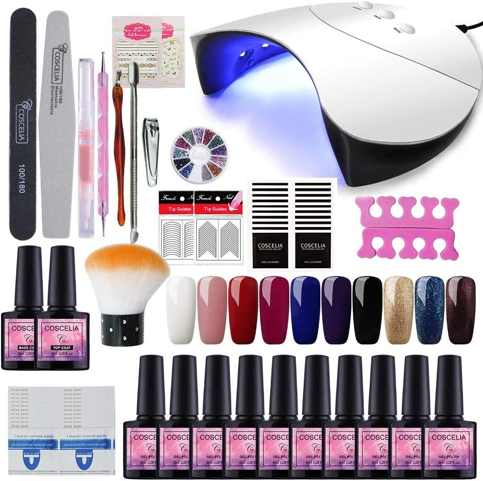 Saint-Acior 36W Lámpara Secador de Uñas UV/LED Nail Dryer 10PCS Esmalte Semipermanente Soak off 8ml Top Coat Base Coat Manicura Kit