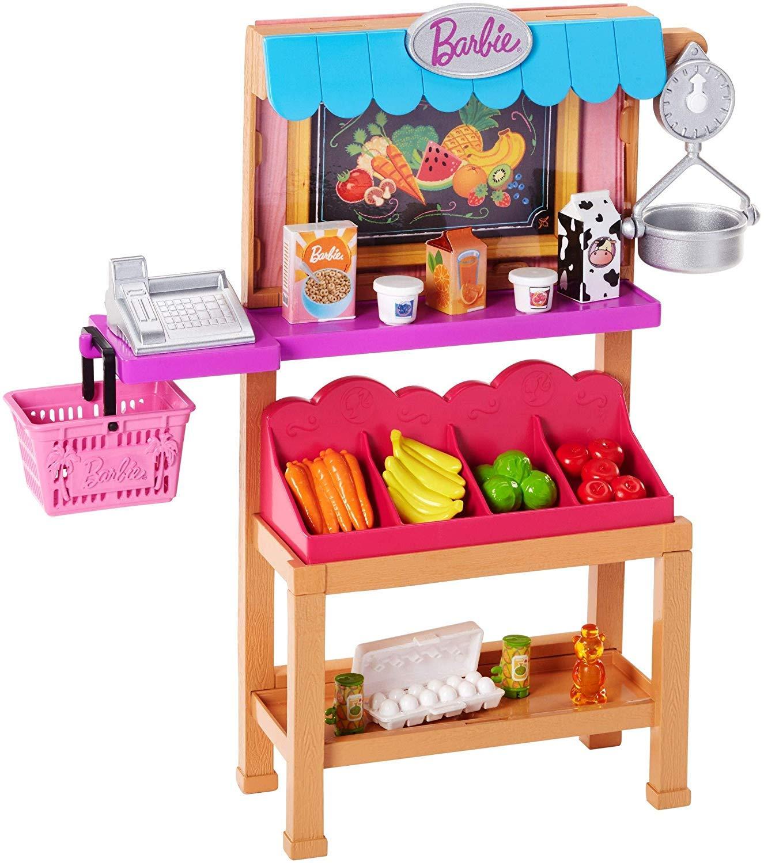 Barbie Métiers Stand de Fruits et Légumes pour poupée avec caisse enregistreuse, étalage de fruits, balance, et accessoires, jouet pour enfant, FJB27