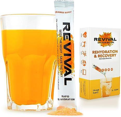 Imagen deRevival, Rehidratación Rápida: Polvo de electrolitos - Potente Suplemento de Vitamina C, Bebida de Rehidratación, Tabletas Efervescentes para la Hidratación y Resaca Cura - Naranja 12 Paquete