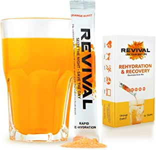 Revival Hydration Electrolyte Powder Packets, Recovery Drink Mix Supplement - Hangover, Sport, Health, Travel - Orange 12 Pack