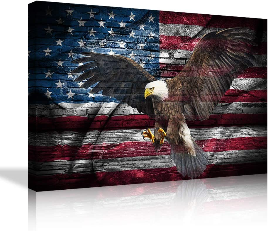 Large American Bald Eagle Canvas Wall Art us Flag Art Eagle Decor Artwork Picture Framed Canvas Paintings HD Prints Home Decor, Ready to Hang