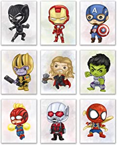 Avengers Nursery Wall Art - Set of 9 (8 inches x 10 inches) Prints - Hulk Captain America Thor Captain Marvel Ant Man Spiderman Ironman Thanos Black Panther