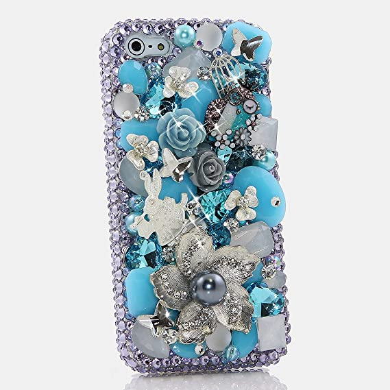 c1d0777202 ... iPhone 6 Case - LUXADDICTION [Premium Quality] 3D Handmade Crystallized  Bling Case Easy Grip Crystals Diamond Sparkle Silver Flowers with Blue  Stones ...
