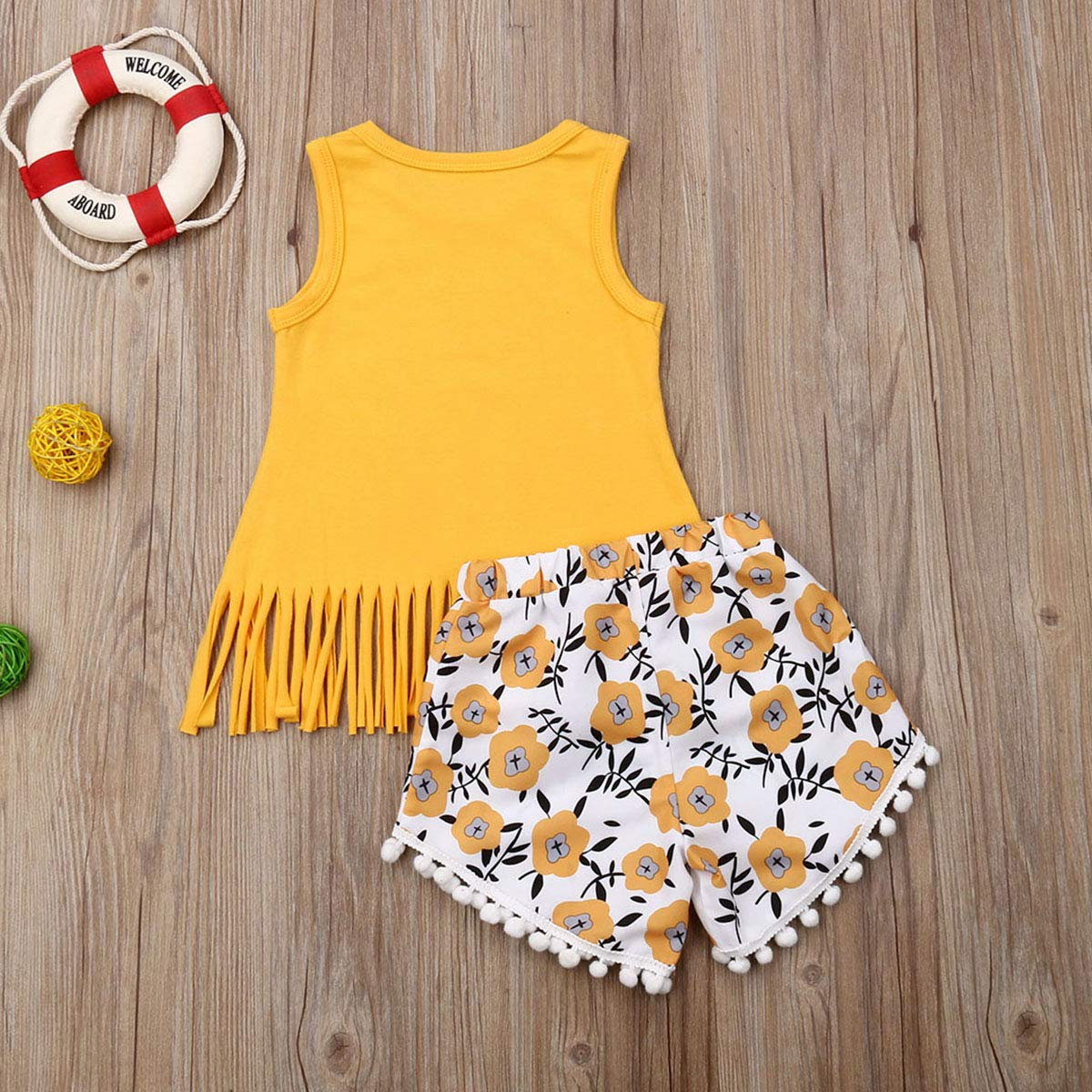 Lefyira Toddler Girl Sunflower Outfits Sleeveless T-Shirt Vest Tops+Floral Denim Shorts 2Pcs Baby Outfit Suit