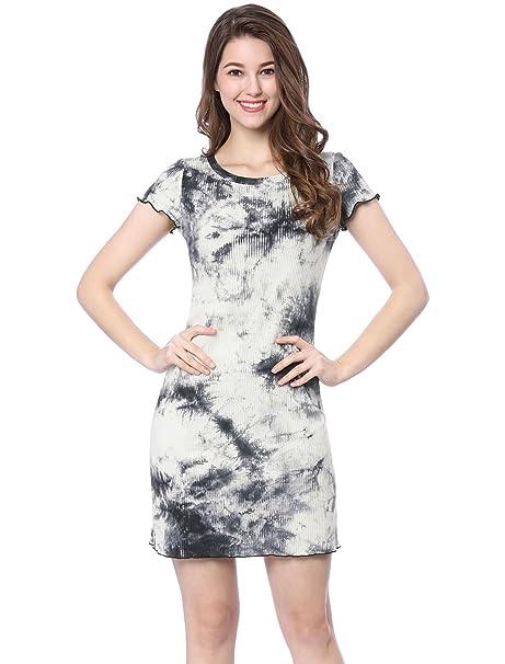 01e778d4c9 Allegra K Women s Ribbed Knitted A Line Lettuce-Edge Tie Dye Dress XS Gray