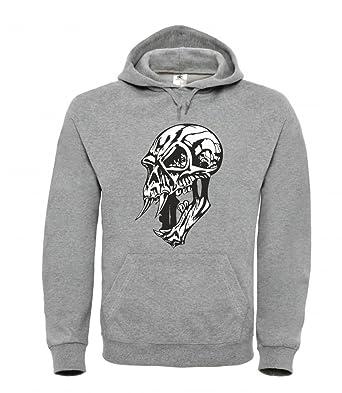 Totenkopf Biker Herren Kapuzenpullover Hoodie Totenschädel